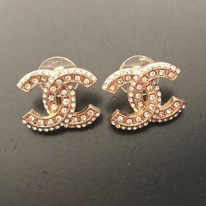 Signature Logo Crystal Rhinestone Stud Earrings